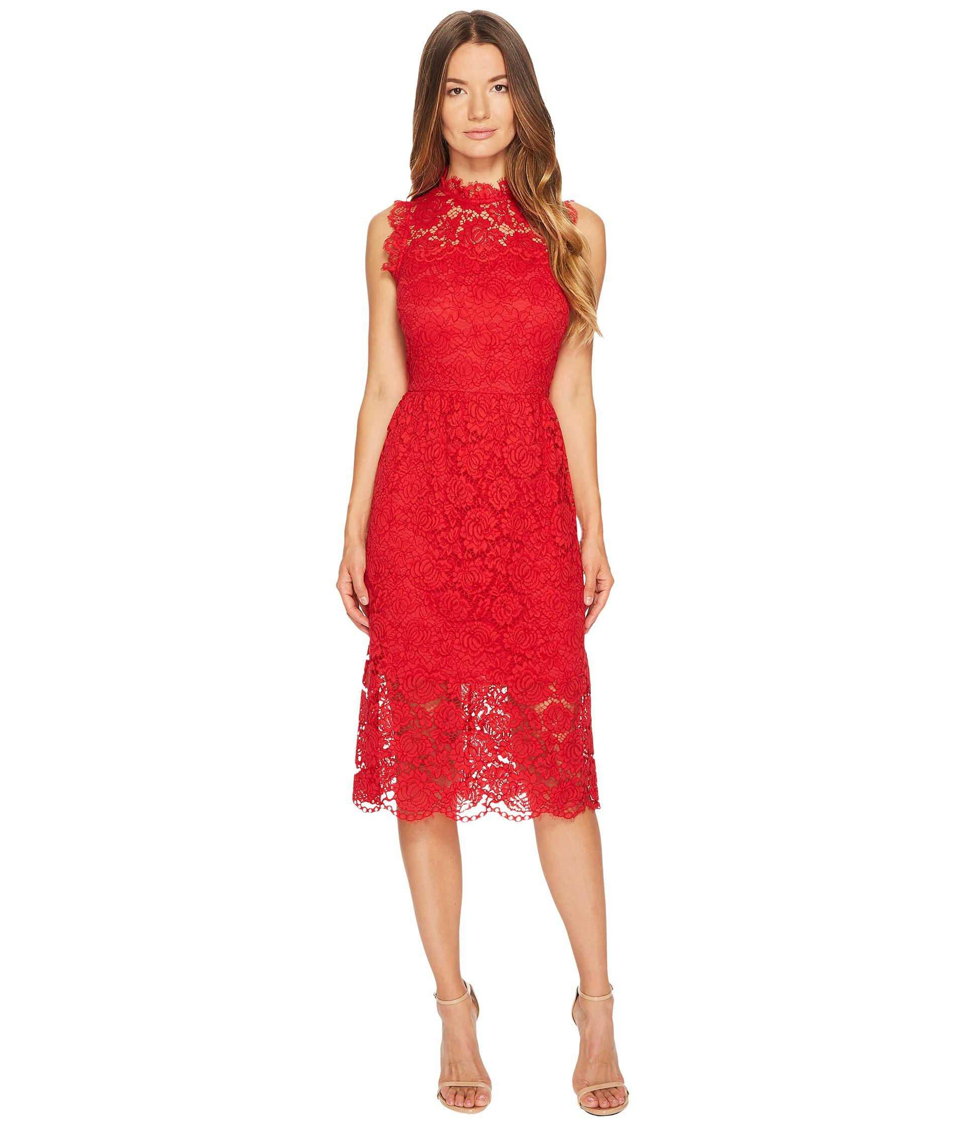653bf3b8d93 Kate Spade Poppy Lace Midi Dress in Red - Lyst