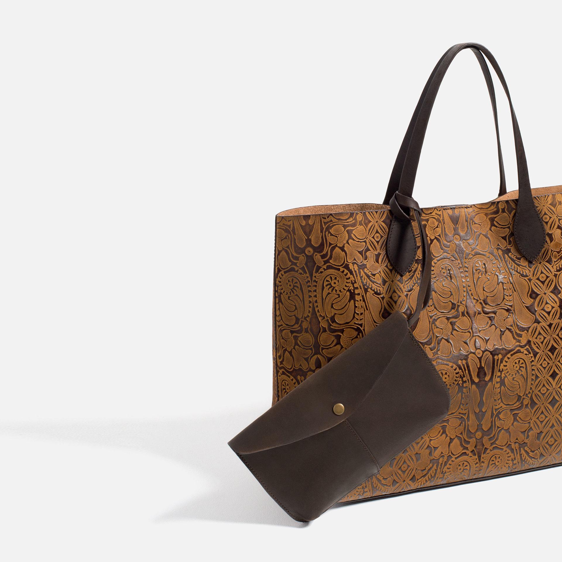 Zara Embossed Leather Tote In Brown Lyst
