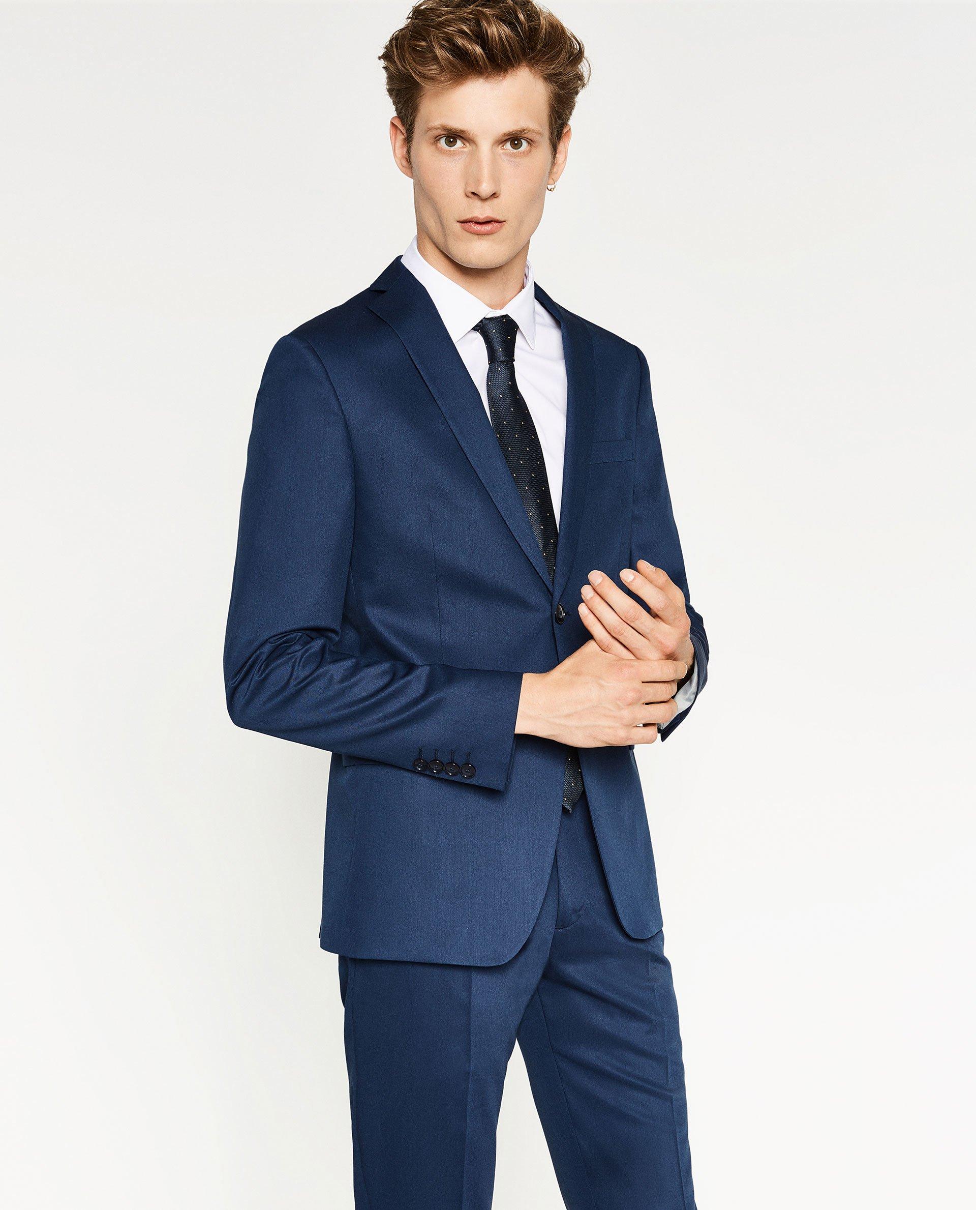 zara chintz suit blazer in blue for men lyst. Black Bedroom Furniture Sets. Home Design Ideas