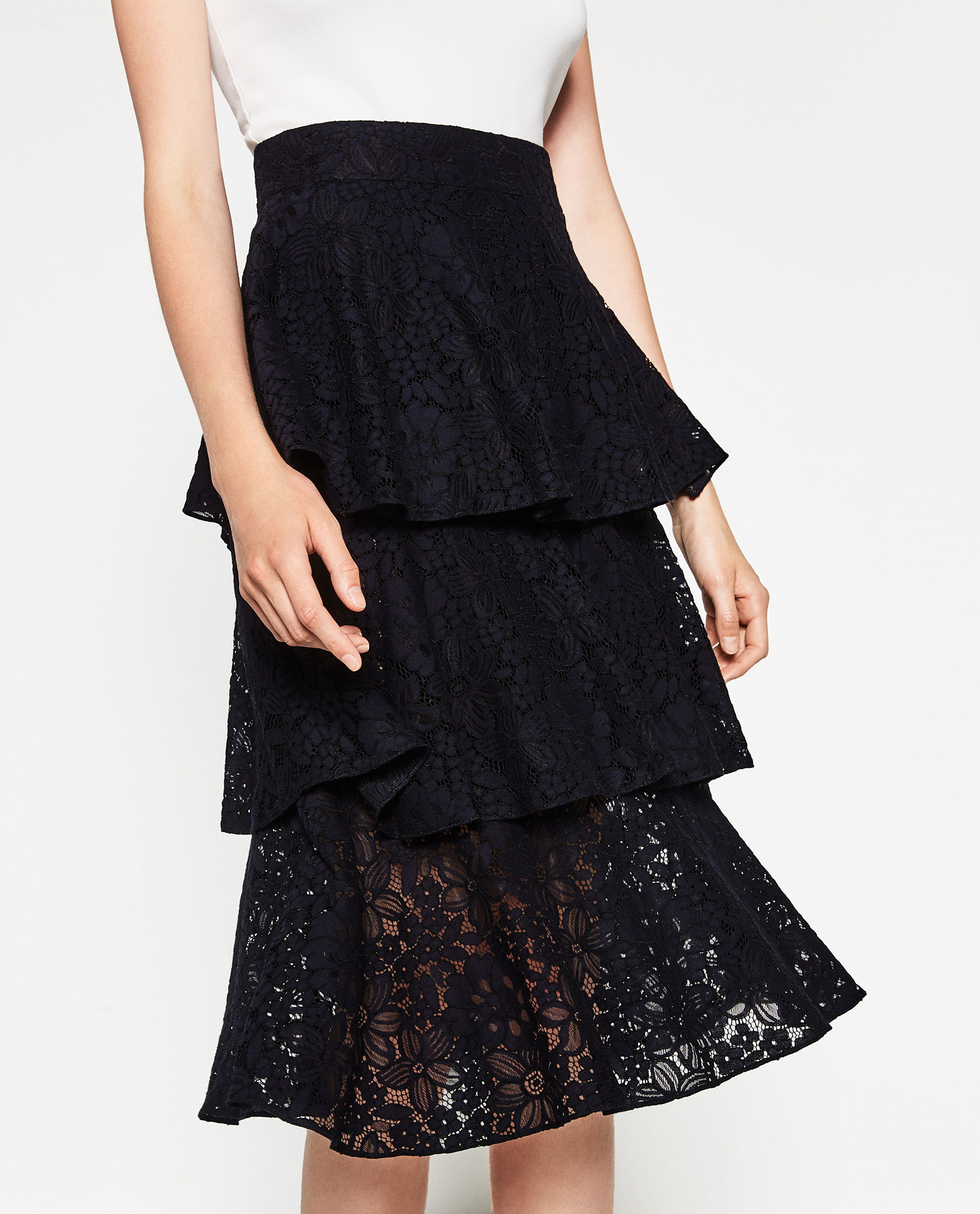 zara frilled lace skirt in blue lyst