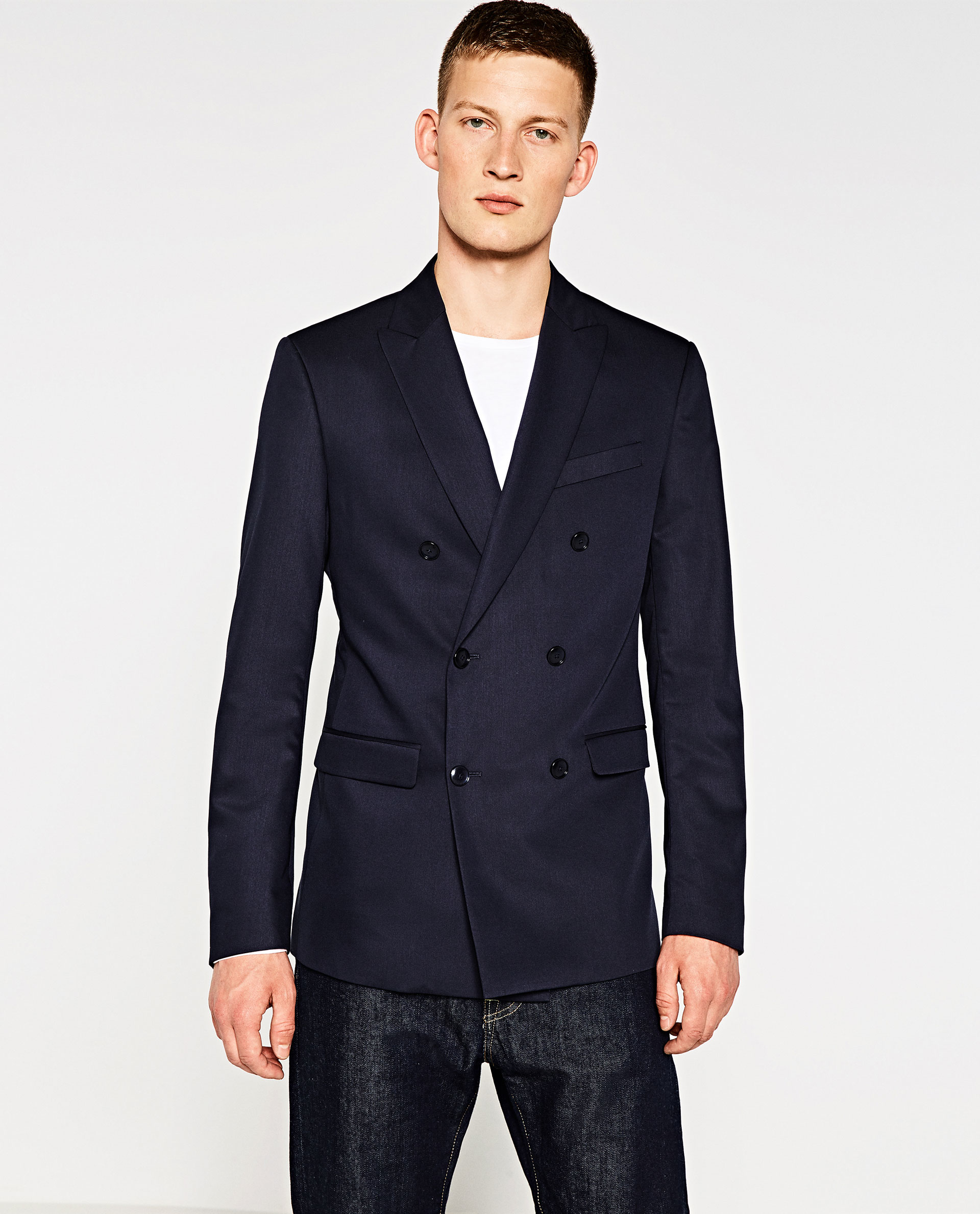 zara double breasted cinzato blazer in blue for men lyst. Black Bedroom Furniture Sets. Home Design Ideas
