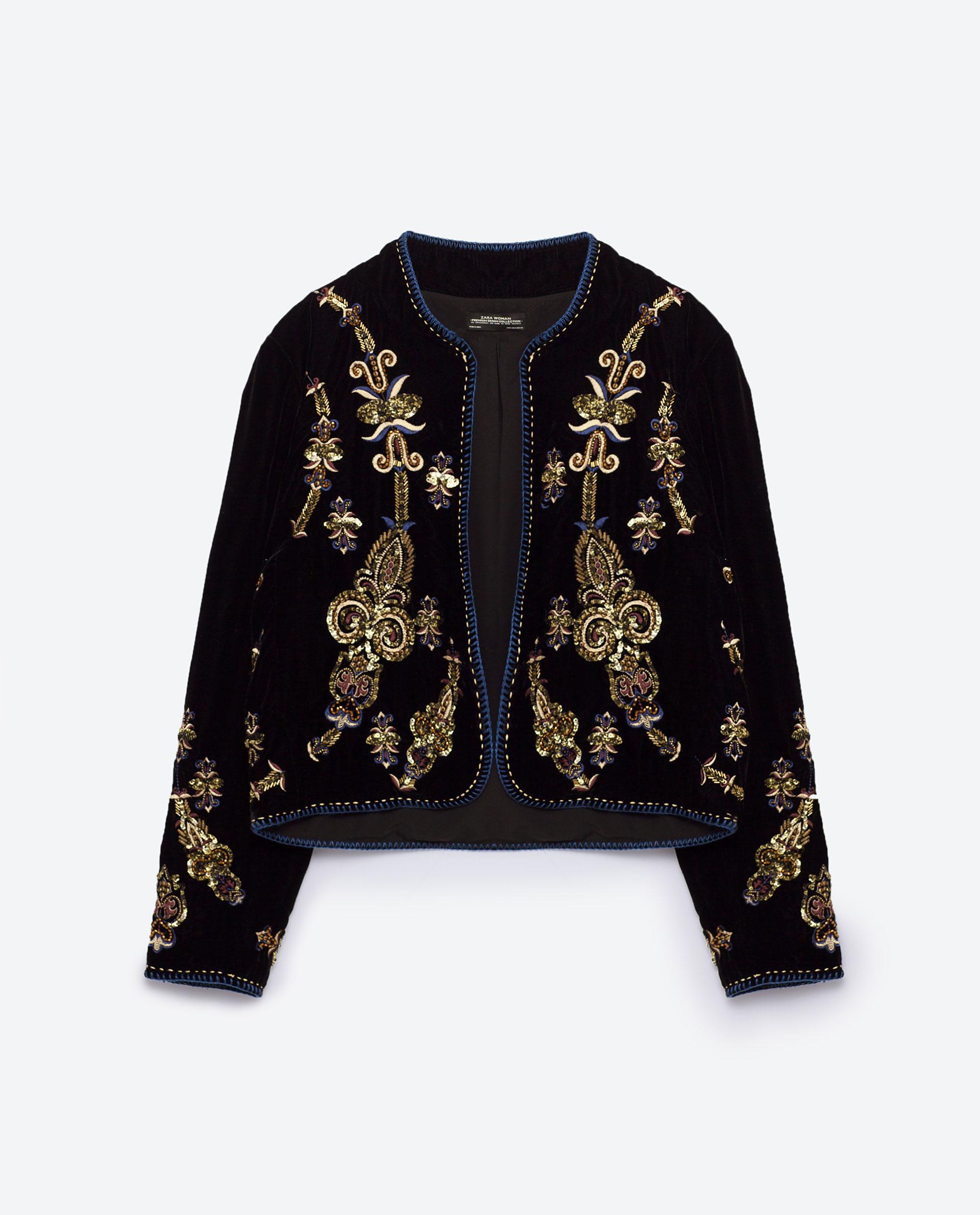 Zara embroidered jacket lyst
