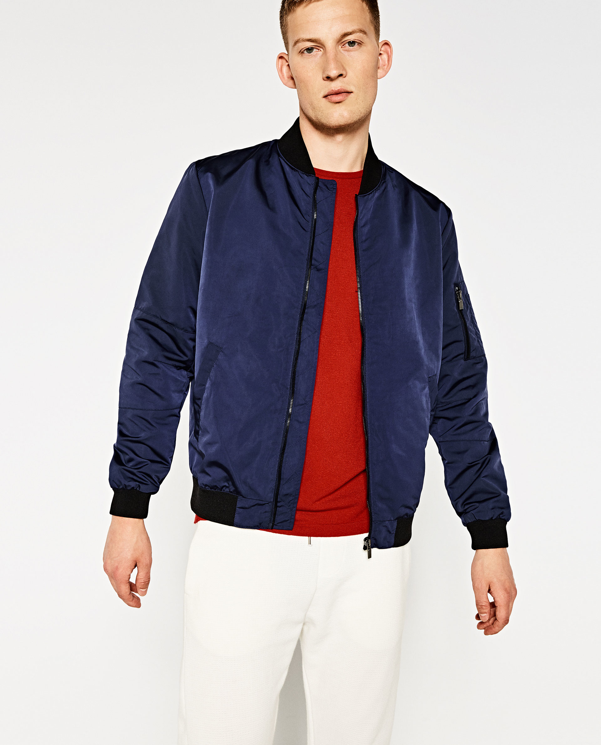 Zara Bomber Jacket in Blue for Men | Lyst
