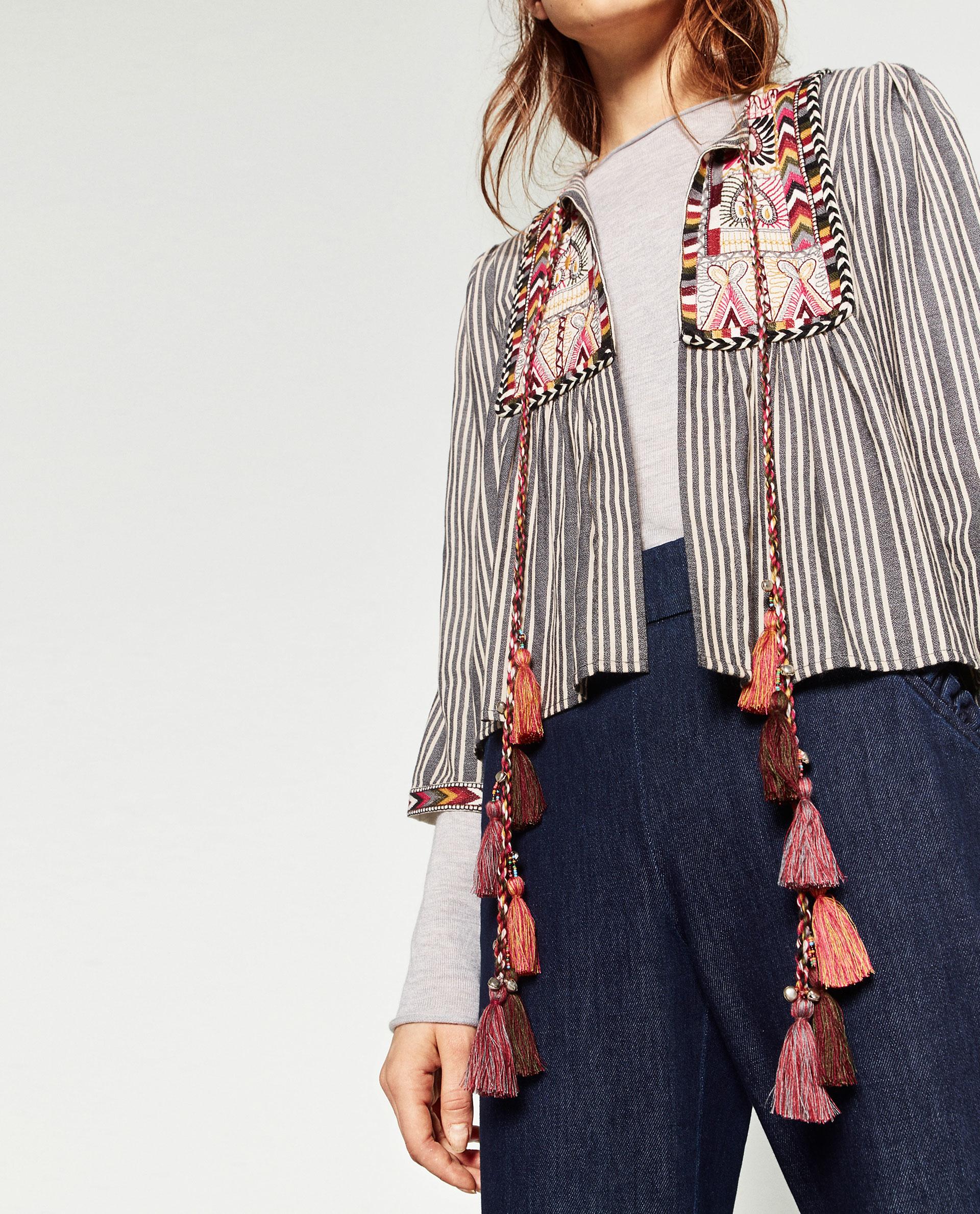 Zara short embroidered jacket in blue lyst