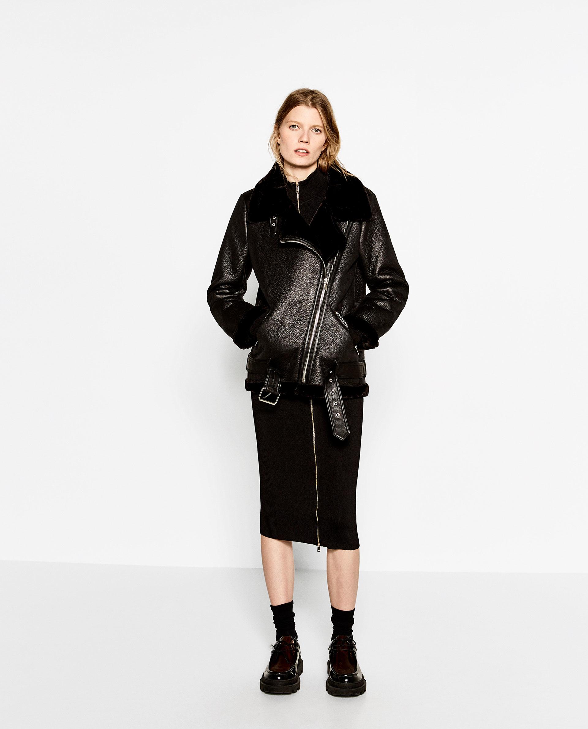 zara faux fur collar biker jacket in black lyst. Black Bedroom Furniture Sets. Home Design Ideas