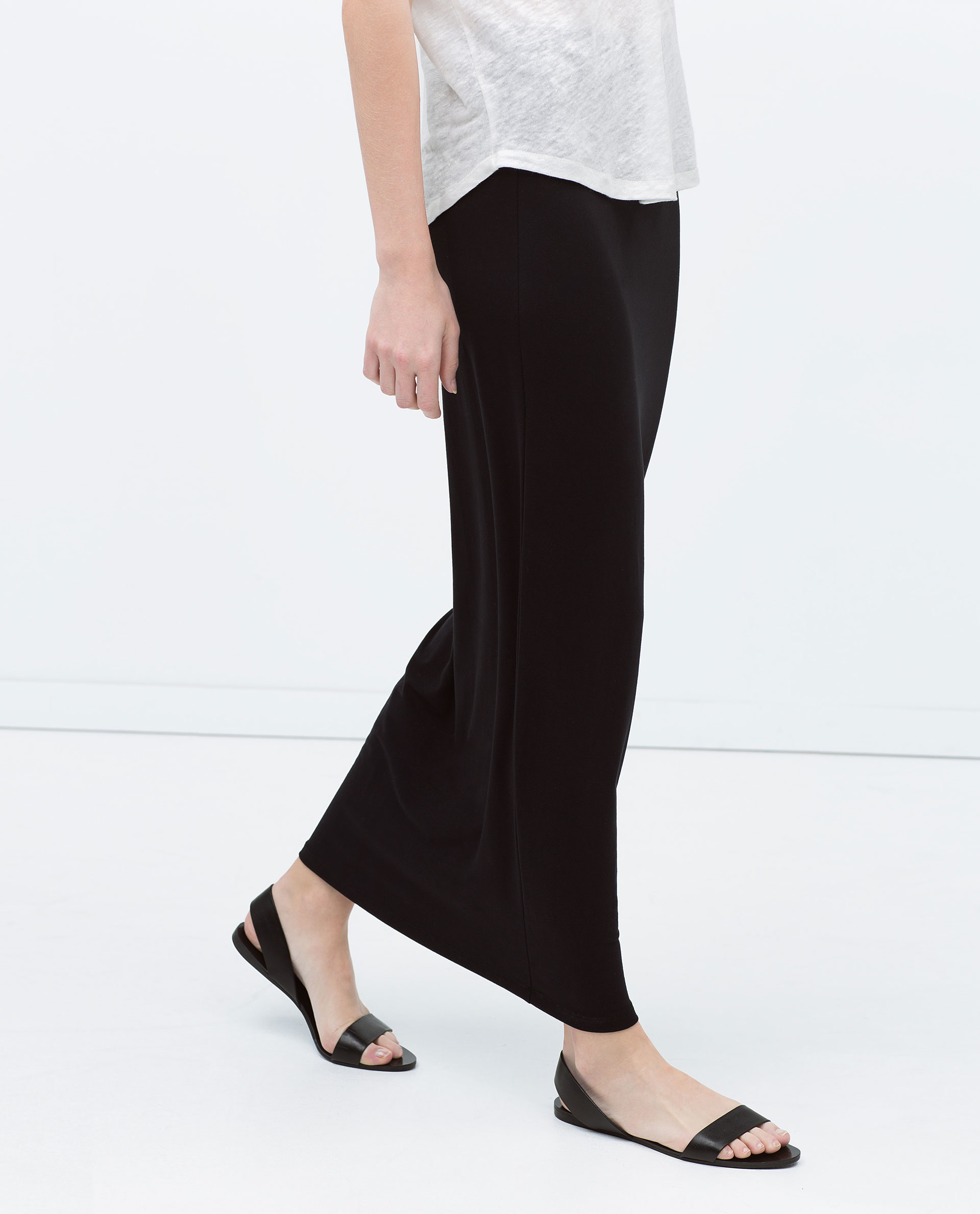 Zara Long Straight Skirt in Black | Lyst