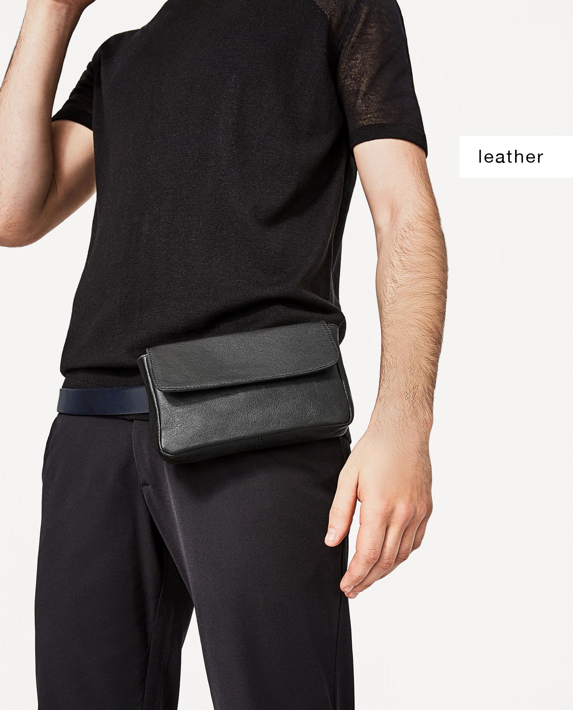 Zara Black Leather Belt Bag In Black Lyst
