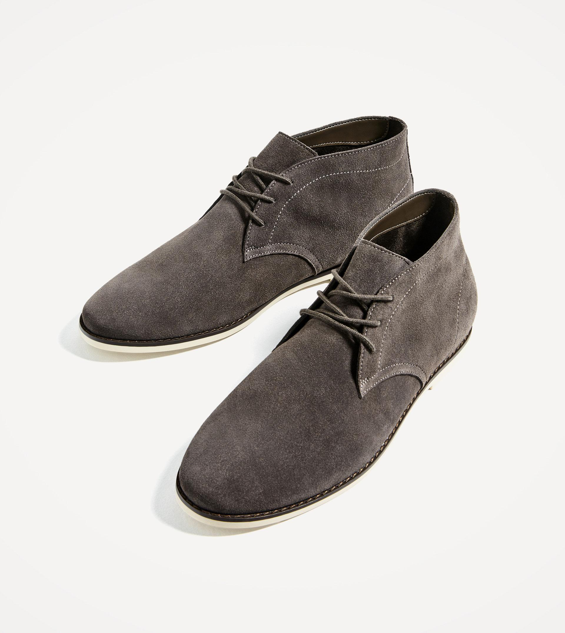 Zara Leather Ankle Boots With A White Sole In Gray For Men