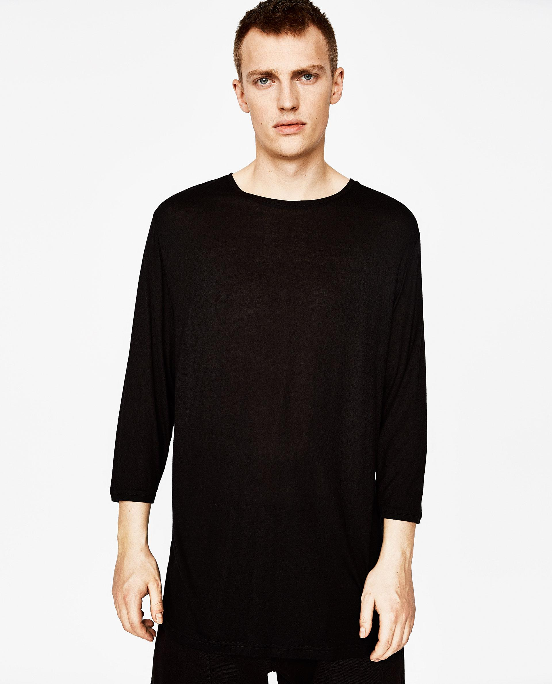 Zara T Shirt With Three Quarter Length Sleeves In Black