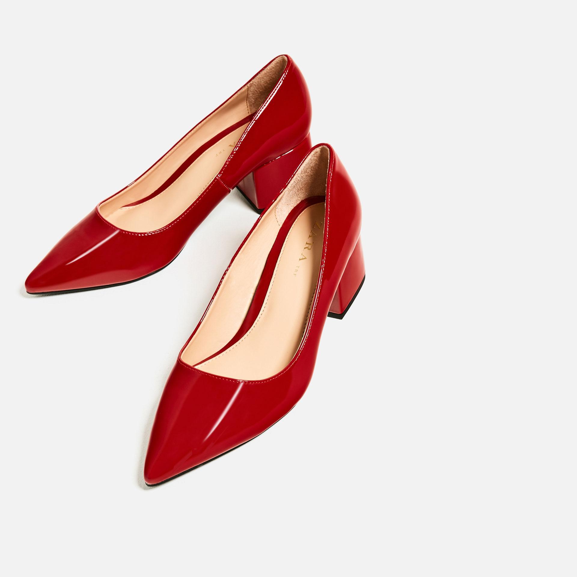 Zara Wide Medium Heel Shoes   Red