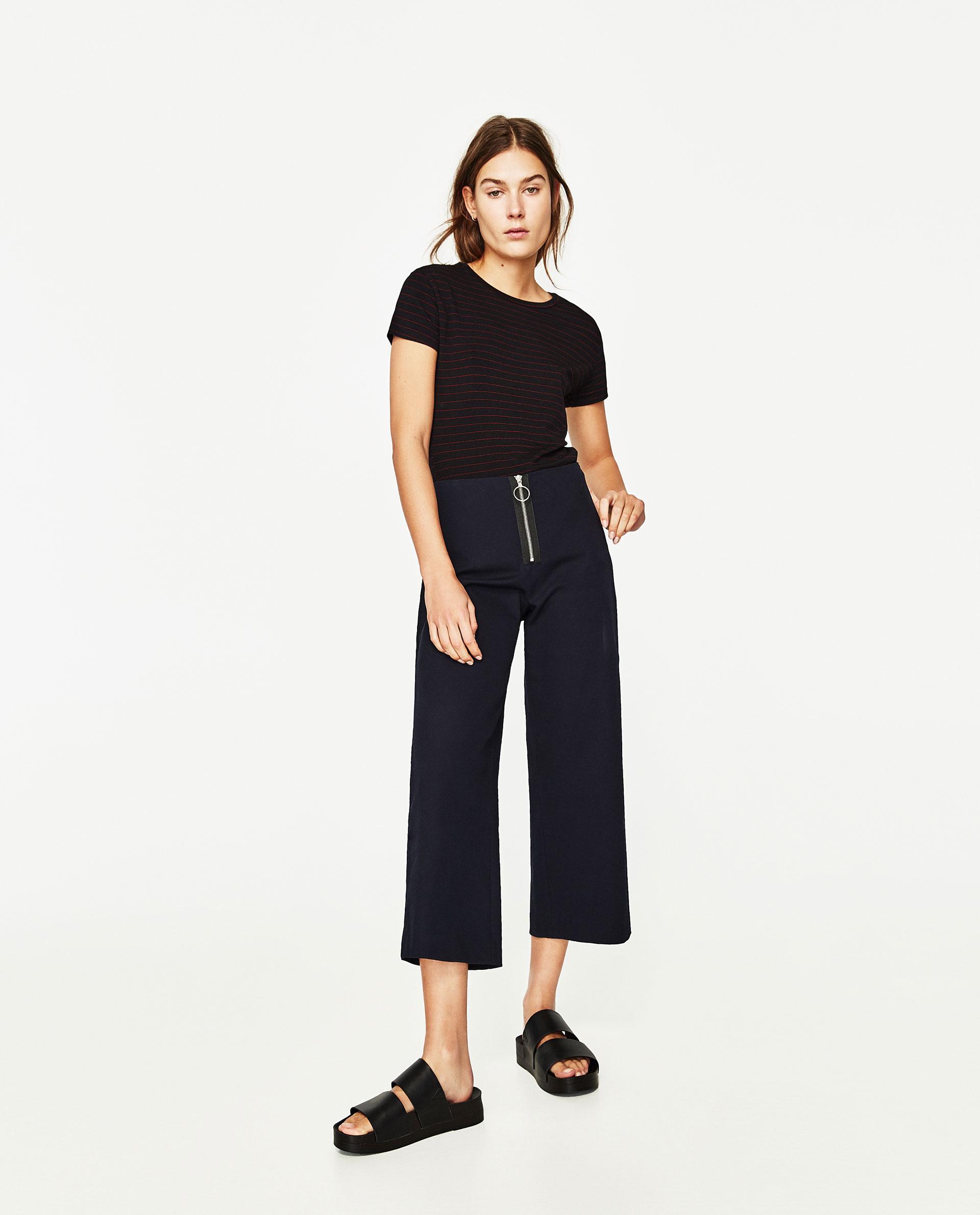 Zara basic t shirt in black lyst for Zara black t shirt dress
