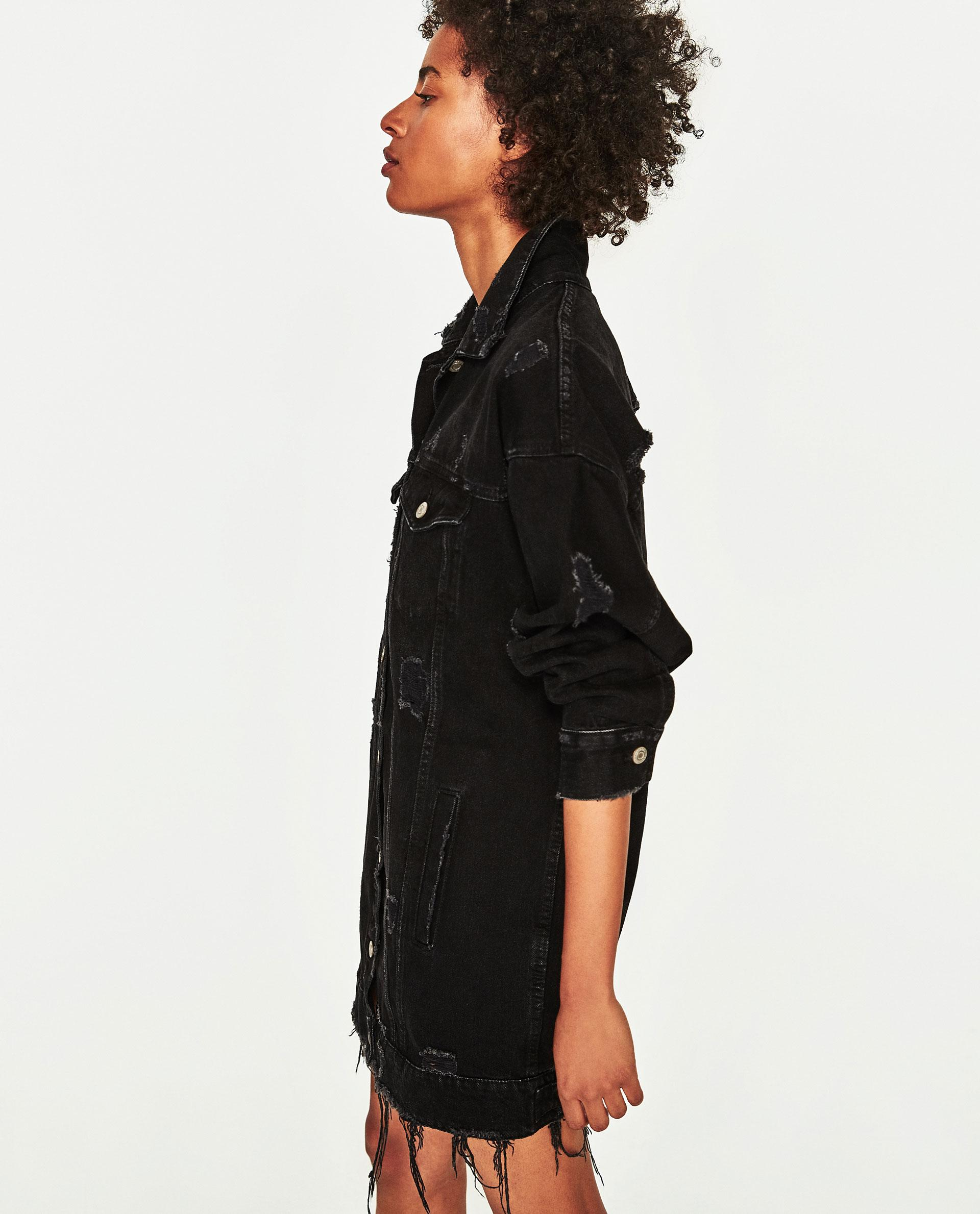 Zara Long Denim Jacket In Black Lyst