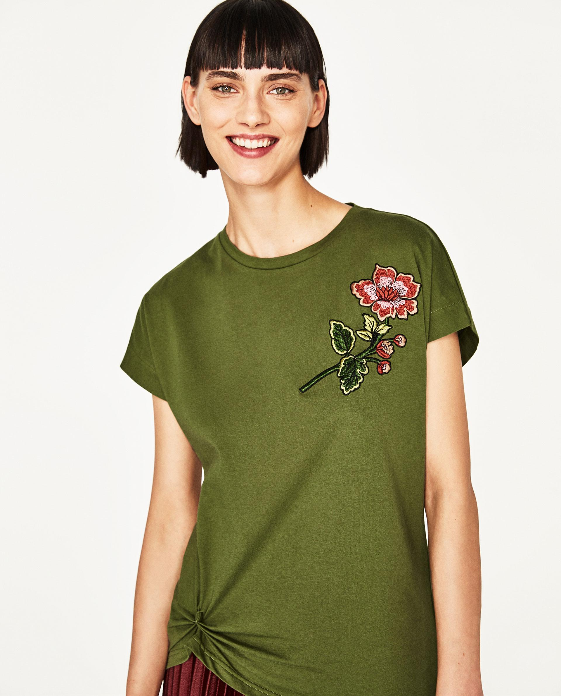 Zara embroidered flower t shirt in green lyst
