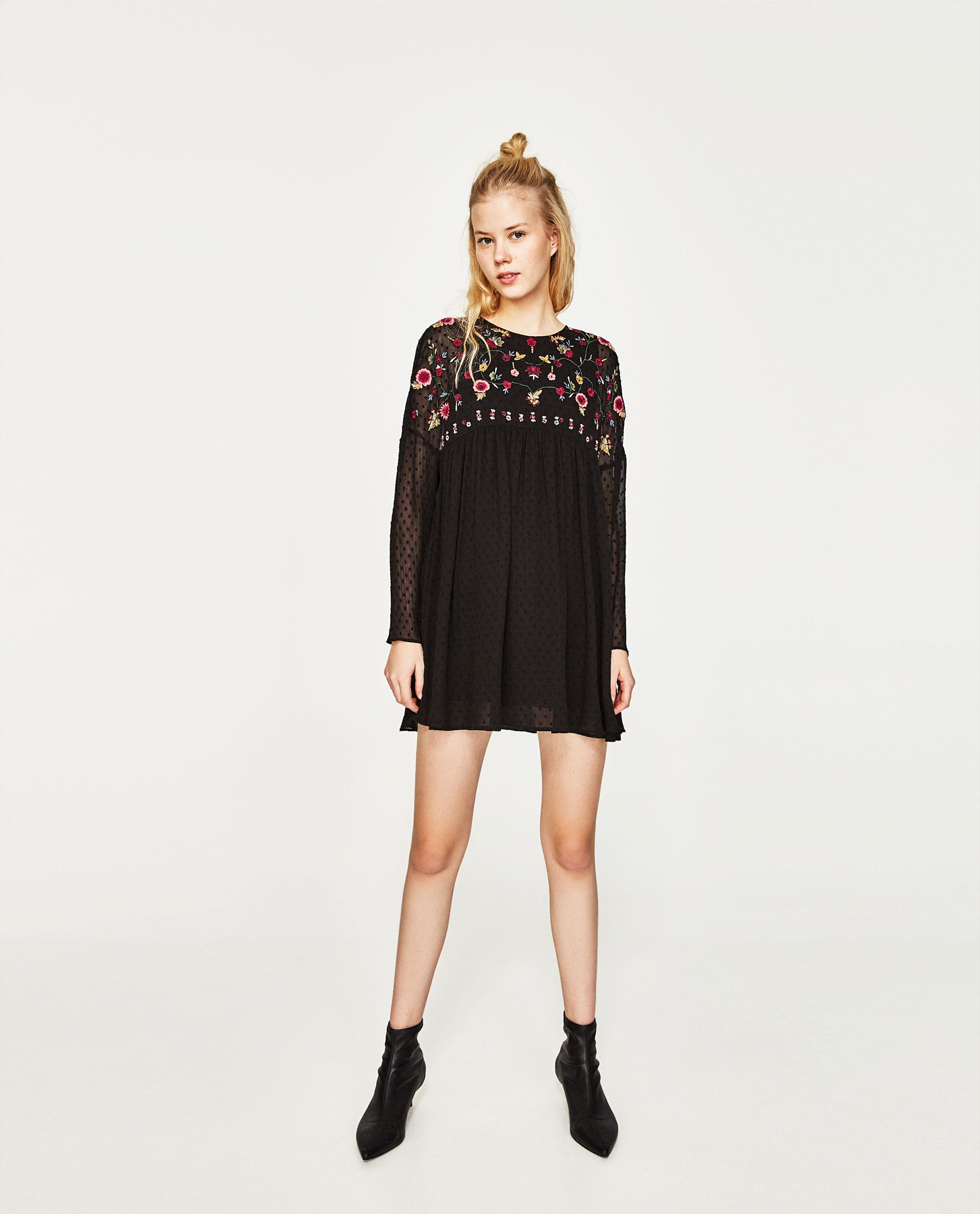 Zara Plumetis Embroidered Jumpsuit In Black  Lyst