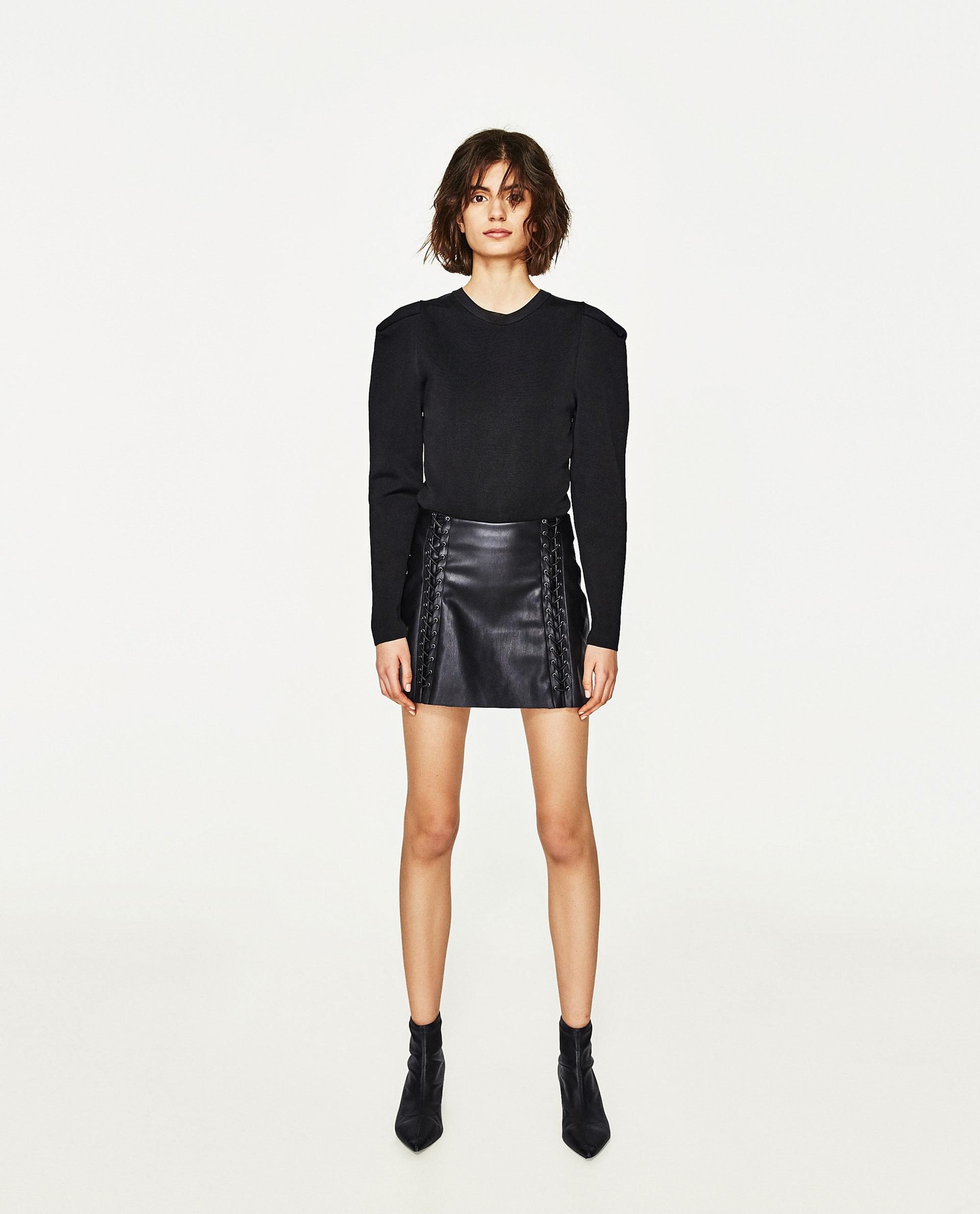 zara braided faux leather skirt in black lyst