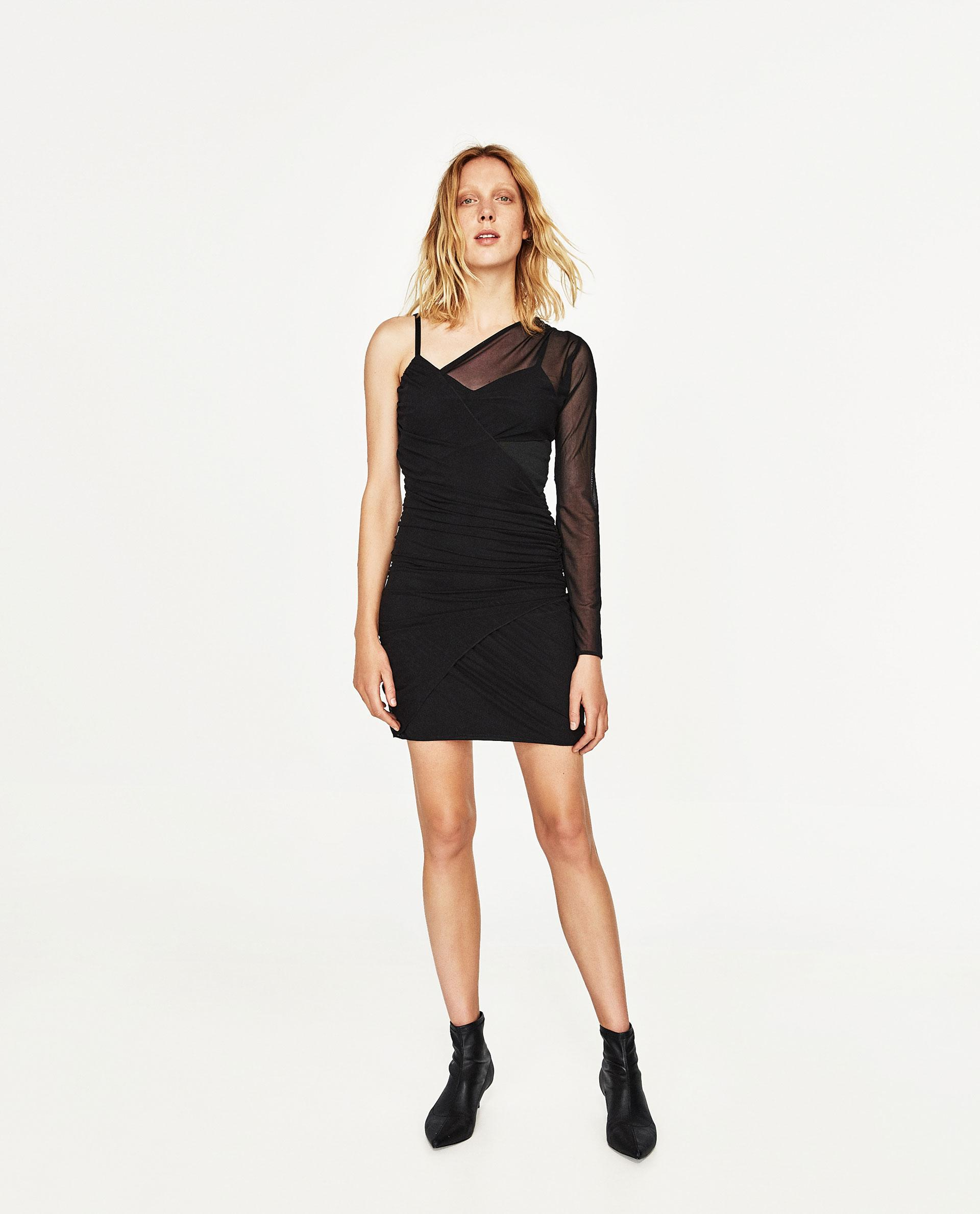 Zara Dress With Tulle Sleeve in Black