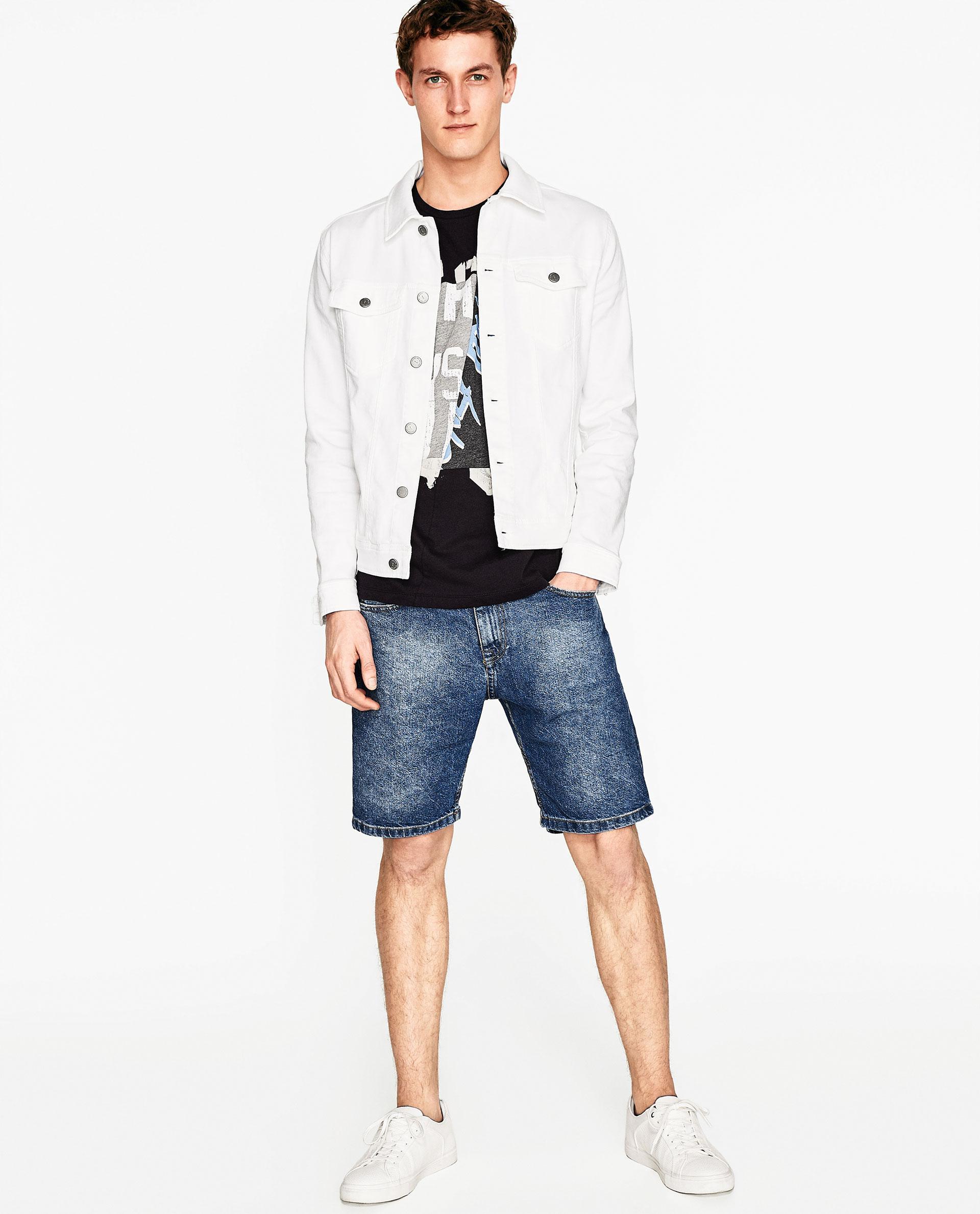 Zara printed t shirt in blue for men lyst for Zara mens shirts sale