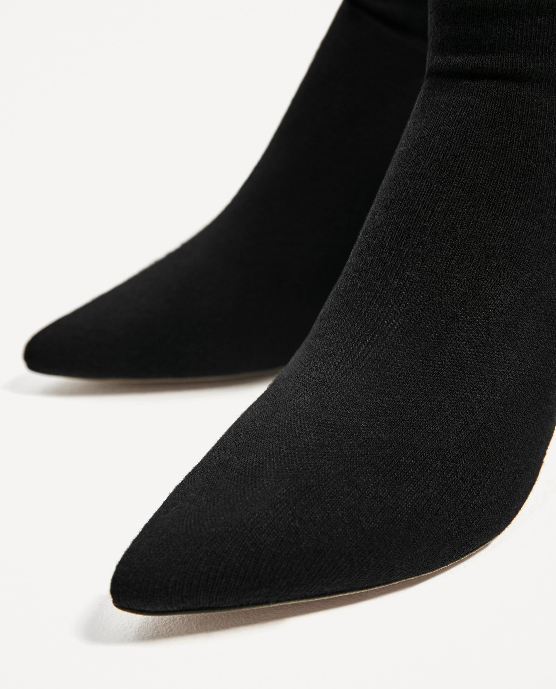 Zara High Heel Sock Style Ankle Boots In Black Lyst